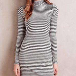 Stripped Low TurtleNeck Dress